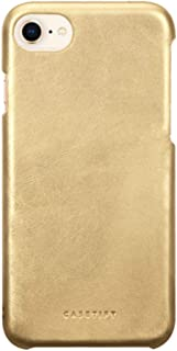 Casetify Gold Handmade Leather iPhone 8 Case with Metallic Buttons and Raised Lip for iPhone 7/8 - Gold