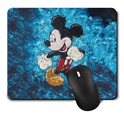 Gaming Mouse Pad Mickey Mouse Disney Blue Watercolor,Funny Cute Non-Slip Rubber Mousepad for Office Kid Gift (9.5 Inch x 8 Inch Mat)