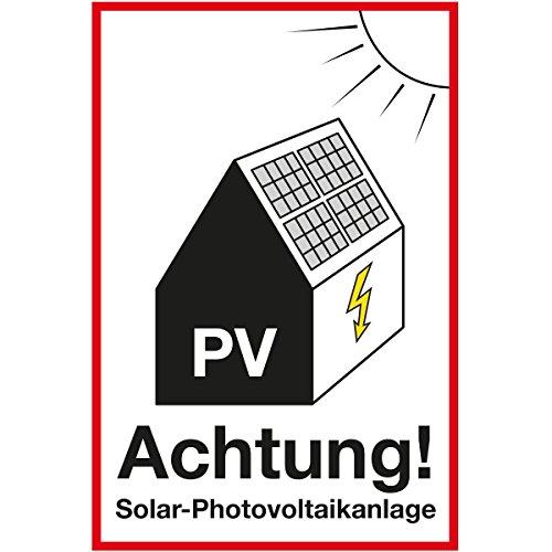 Wandkings Hinweisaufkleber für den Innen- und Außenbereich - Achtung! Solar-Photovoltaikanlage - 40x30 cm - Aufkleber ohne Schild