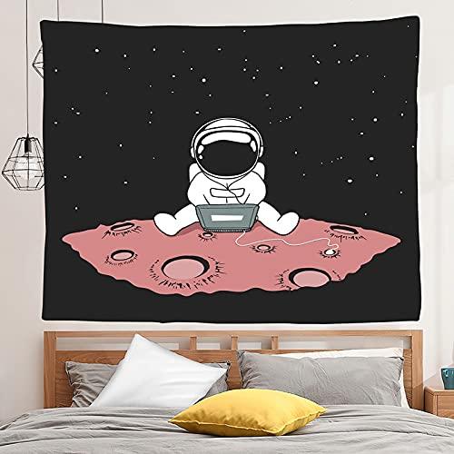 PPOU Rum astronauter gobeläng vägghängande kreativa söta astronauter bakgrund tyg tak hängande tyg måne gobeläng A3 180 x 200 cm