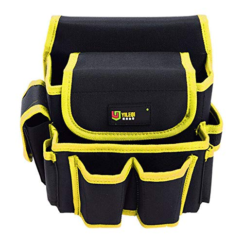 Tool Bag Backpack Pocket Electrician Waist Storage Bag Screwdriver Utility Kit Holder Belt Mutil Pocket Heavy Duty Tool Bag-Yellow