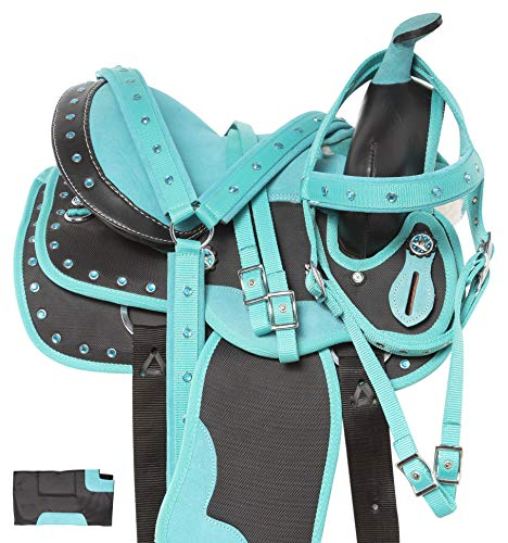 "Acerugs Little Kids Full Size Western Quarter Horse OR Pony Saddle TACK Set PAD Barrel Racing Trail Riding (Teal Horse, 12"")"