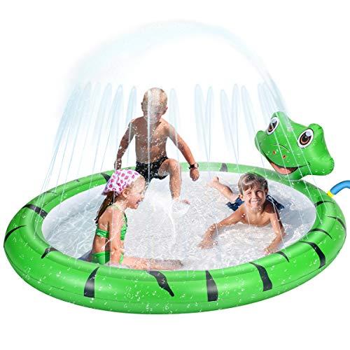 Piscina Hinchable con rociadores, Tema de Rana Spray Plash Sprinkle Play Pad Mat, Piscina de Juego de Verano Juguetes al Aire Libre para Niños y Niñas