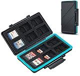 JJC 36 Steckplätze Speicherkarten Etui Tasche Aufbewahrung für 24 Micro SD SDXC SDHC + 12 Nintendo Switch Spielkarten (NS Karte), Wasserdicht SD Speicherkarten Schutzbox Tragetasche Karten Case Box