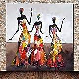 Pintura Al Óleo Pintada A Mano Sobre Lienzo,Figura Humana,Pintura Abstracta 3 Mujeres Negras African...
