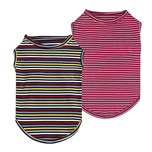 Fitwarm 2-Pack 100% Cotton Striped Dog Shirt for Pet Clothes Puppy T-Shirts Cat Tee Breathable Strechy Red Blue XS