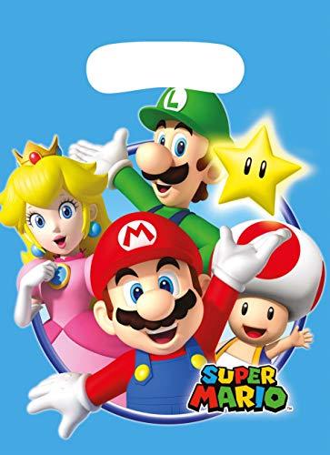 Amscan 9901541 - Partytüten Super Mario, 8 Stück, 23 x 16,5 cm, Mitgebsel, Kindergeburtstag