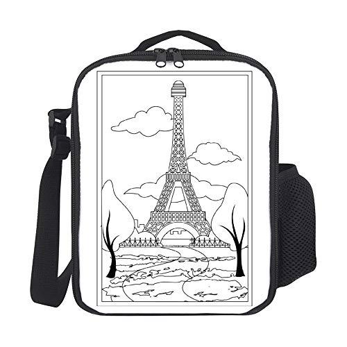 Bolsas de almuerzo aisladas para niños, con soporte para botellas, póster vintage de París, color negro, a la moda, gran lonchera para hombres, adultos, reutilizable, para el trabajo, escuela, picnic