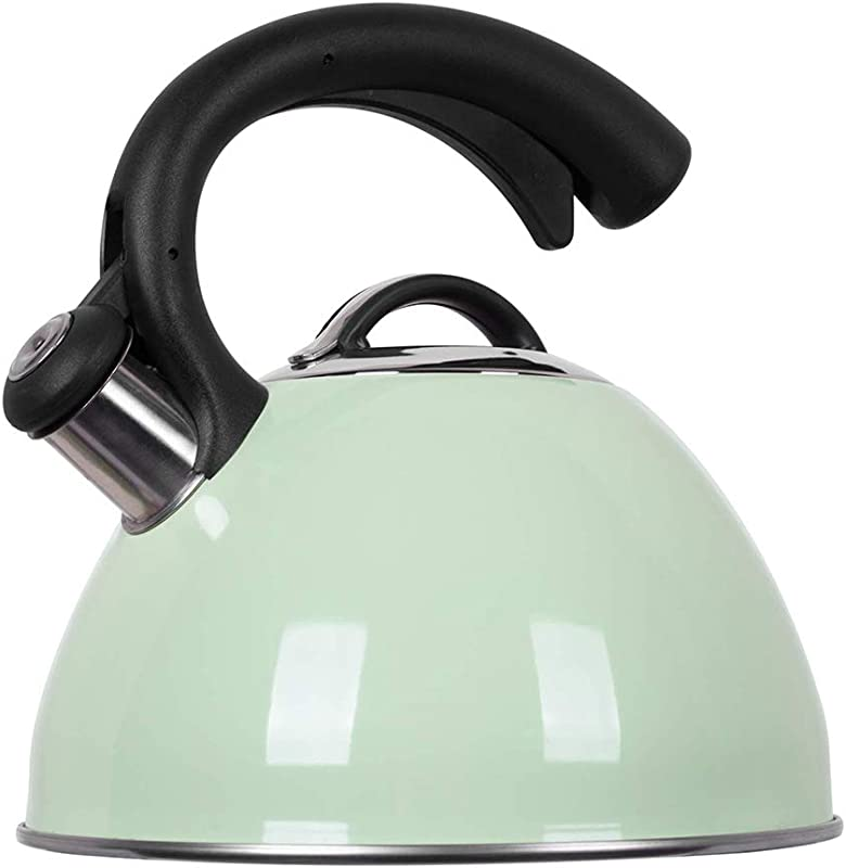 ROCKURWOK Tea Kettle Stovetop Whistling Kettle Stainless Steel 2 63 Quart Mint Fizzy Green