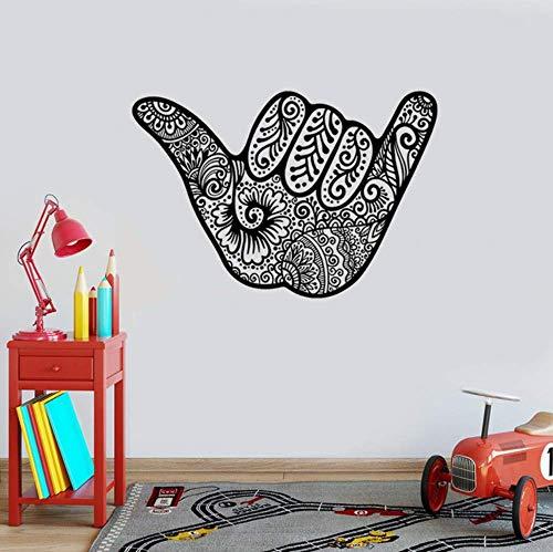 Kreative Shaka Hang Loose für Surfer Hawaii Vinyl Wandtattoo Home Decor Art Wandbild Abnehmbare Wandaufkleber 57X84Cm