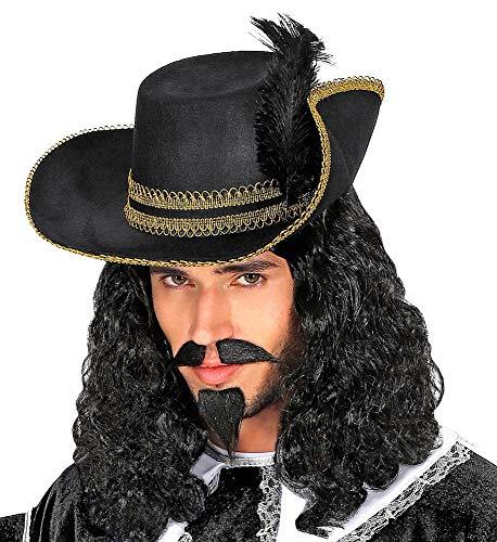 Das Kostümland Musketier Hut mit Feder - Schwarz Gold   Zubehör Kostüm Mittelalter Pirat Karneval Theater