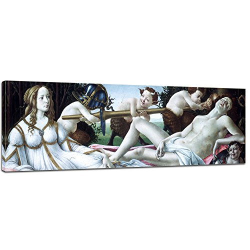 Leinwandbild Sandro Botticelli Venus und Mars - 160x50cm Panorama quer - Alte Meister Keilrahmenbild Leinwandbild Alte Meister Gemälde Kunstdruck Bild auf Leinwand