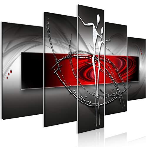 decomonkey Bilder Abstrakt 200x100 cm 5 Teilig Leinwandbilder Bild auf Leinwand Wandbild Kunstdruck Wanddeko Wand Wohnzimmer Wanddekoration Deko Figuren schwarz weiß rot