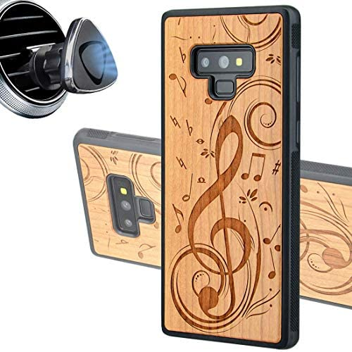iProductsUS Wood Phone Case Compatible with Samsung Galaxy Note 9 and Magnetic Mount Engrave product image