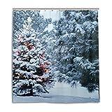 CPYang Duschvorhänge, Winter, Schnee, Weihnachtsbaum, wasserdicht, schimmelresistent, für Badezimmer, Heimdekoration, 168 x 182 cm, mit 12 Haken