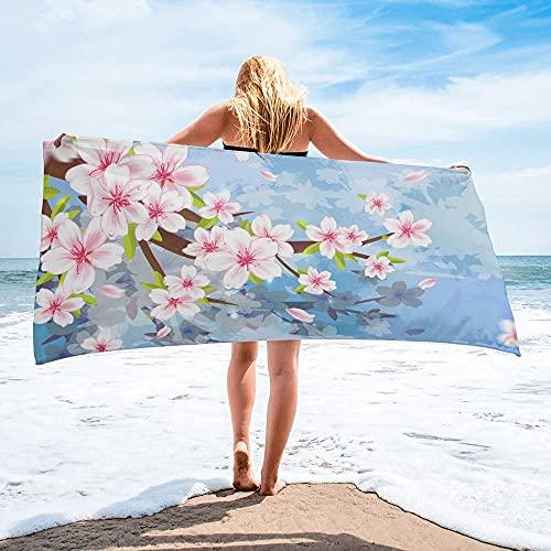 Toalla de baño con Flor de melocotón en Flor Rosa, Accesorios de baño para Acampar, Toalla Facial, Toalla de Playa de Microfibra - 35 * 75cm