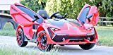 First Drive Lambo Concept Red 12v Kids Cars - Dual Motor Electric Power Ride On Car with Remote, MP3, Aux Cord, Led Headlights, and Premium Wheel