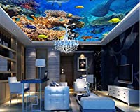 カスタム写真の壁紙トップビュー壁紙美しい海底世界魚生物天井ポスター壁画壁アート家の装飾-500x300cm/196.8x118.1inch