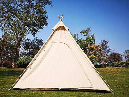Latourreg Outdoor or Indoor Large Adult Indian Teepee Tent of Canvas 6.5FT Camping Pyramid Tipi Tent with Double Mesh Door