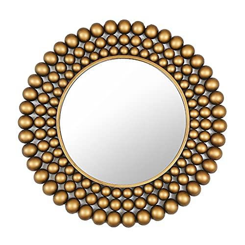 LWF Espejo De Pared Decorativo Vintage 70 Cm Espejo De Baño Marco Metal Redondo Espejos De Maquillaje Círculo Alta Definición para Sala De Estar Pasillo Dormitorio, Oro
