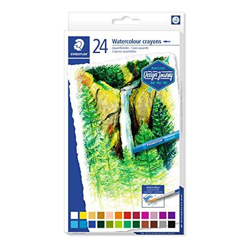 Staedtler 223 C24 Aquarellkreide (hochopake Farben, leicht verwischbar, wasservermalbar, mit Papierbanderole, Durchmesser 8 mm, rund) Kartonetui mit 24 leuchtenden Farben