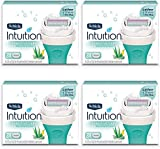 Schick Intuition Pure Nourishment Womens Razor Refills with Coconut Milk and Almond Oil (Pack of 4)
