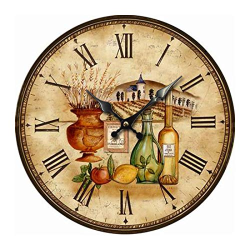 Reloj De Pared Vintage Farm Diseño Rústico Shabby Chic Big Garage Watch Vino Tinto De Limón Arquitectónico Relojes De Pared Redondos para Dormitorios