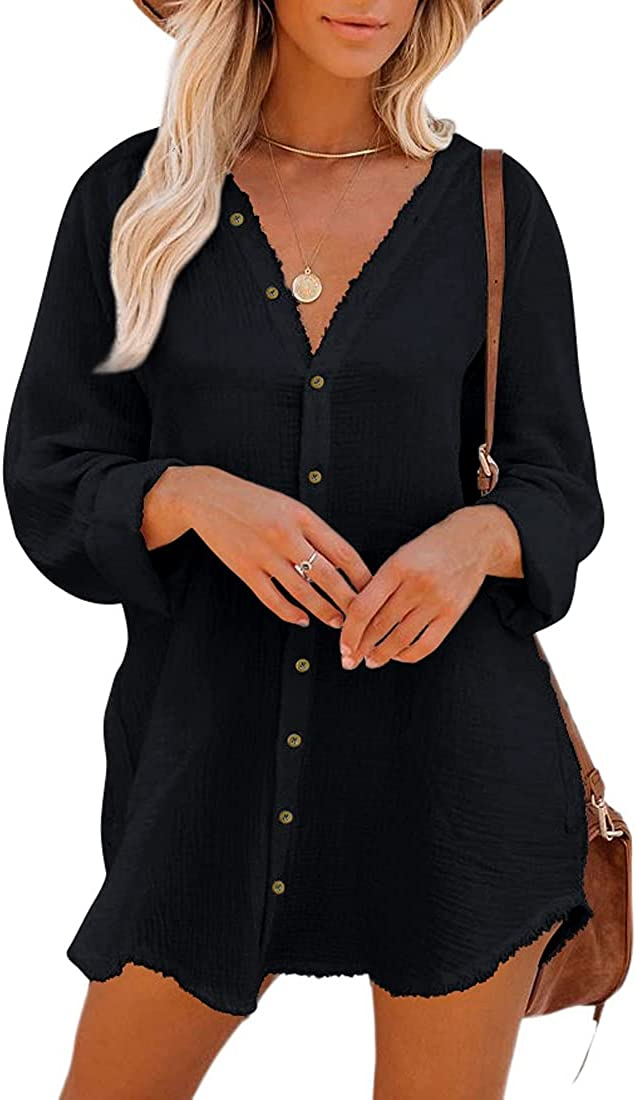 Button Down Tunic for Women Popular shop is the lowest price challenge Long Sleeve Shirt Blouse V 2021 Neck with