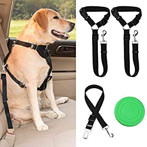 3 Pack Dog Seat Belts – Car Seat Belt Headrest Restraint – Durable Nylon Vehicle Harness for Dogs, Cats