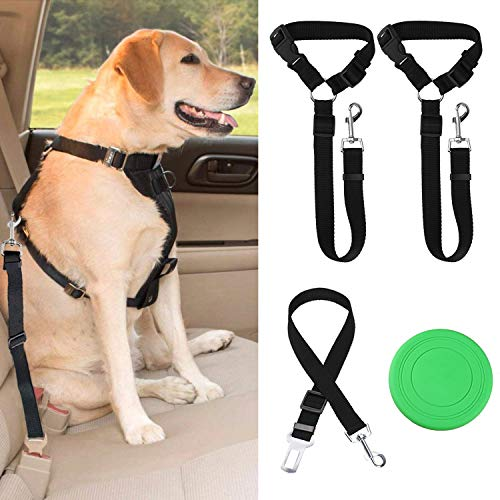 Dog Seat Belts - Car Seat Belt Headrest Restraint - Durable Nylon Vehicle Harness for Dogs, Cats