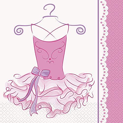 Ballerina-Papierservietten, 16,5cm, Pink, 16Stück