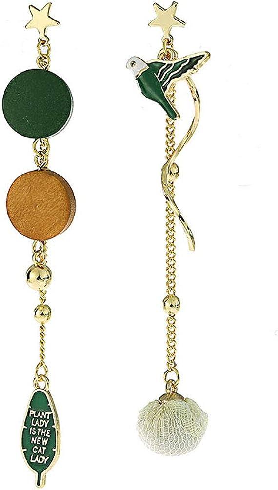 Clip on Dangle Earrings Drop Women Girls No Pierced Cute Charm Birds Tassel Round Wood Beads Fashion
