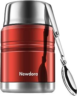 Newdora 保温ランチジャー 保温弁当箱 500ml フードジャー 6時間保温 8時間保冷 304ステンレス製 スープ・弁当・ランチ用 折りたたみスプーン・クリーニングブラシ付き(レッド)