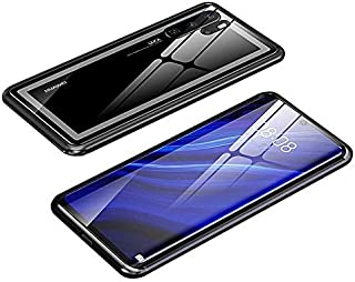 For Huawei P30 Pro Magnetic Case, Magnetic Adsorption Technology Metal Frame Case Aluminum 9H Tempered Glass Back Cover - ...
