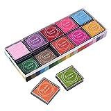ULTNICE Cojín de tinta de huella digital Cojín de sello multicolor para niños DIY, 20pcs