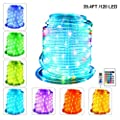 LED Rope Lights RGB Outdoor 12M/40ft 120 LED with USB, IP68 Waterproof Rope Light Tube 16 Colors 4 Modes with Remote Control & Timer for Christmas Party Balcony Birthday Decoration