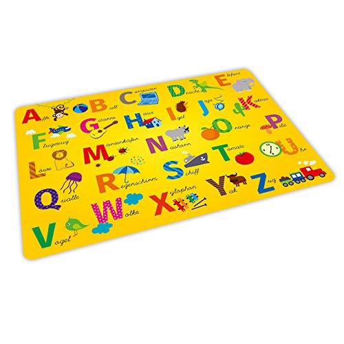 stabiles Vinyl Tischset mit Lerneffekt für Kinder - ABC gelb - Platzdeckchen Platzset - BPA frei - abwaschbar reißfest farbecht - Geschenk Schuleintritt Schulanfang Einschulung