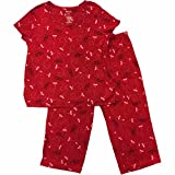 Womens Red Valentines You Make My Heart Flutter Pajamas Sleep Set Large