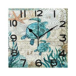 ZzWwR Beautiful Underwater Sea Turtle Print Square Wall Clock, 8 Inch Battery Operated Quartz Analog Quiet Desk Clock for Home,Office,School