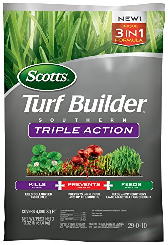 Scotts Turf Builder Southern Triple Action - Weed Killer, Lawn Fertilizer, Fire Ant Killer & Preventer - Kills Clover, Oxalis, Dollarweed & More, Covers up to 4,000 sq. ft, 13 lb.