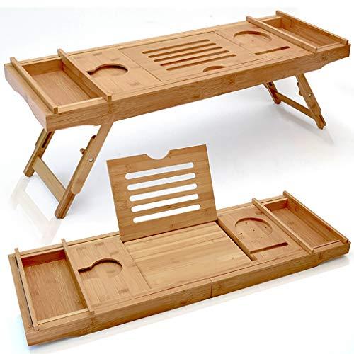 Uitbreidbare luxe houten bad Caddy lade - bamboe laptop bed bureau met twee schaalbare en verstelbare voeten, bad lade en badkamer Organizer voor elke grootte bad bad bad gebouwd in wijnglas, telefoon, boek