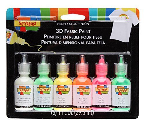 I Love To Create Scribbles 3D Fabric Paints 1 Oz 6 kg-Neon