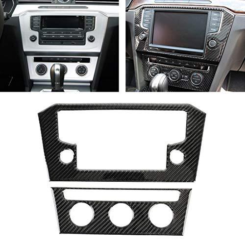 Etiqueta engomada decorativa del panel del aire acondicionado del control central de la fibra de carbono del coche 2PCS for Volkswagen New Magotan Alta calidad