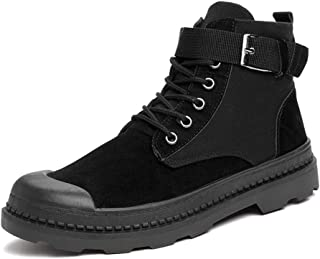 JIANFEI LIANG Men's Ankle Boots Work Boots Lace up PU Leather Metal Buckle Decor Side Zipper Patchwork Stitching Collision Avoidance Toe Casual (Color : Gray, Size : 42 EU)