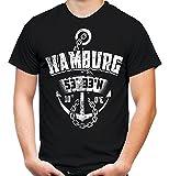 Hamburg Anker Männer und Herren T-Shirt   Stadt Reeperbahn Anchor     (3XL, Schwarz)
