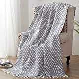 SE SOFTEXLY Throw Blanket by 100% Long Staple Egyptian Cotton, 3-Layer Soft Muslin Blanket with Tassels for Couch Bed Car Farmhouse and Home Decor (Tassels Grey,50x60)