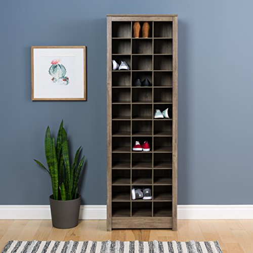 tall shoe storages Prepac Shoe Storage Cabinet, 36 Pair Rack, Drifted Gray