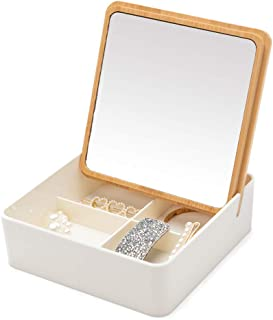 YEAKE Table Desk Vanity Makeup Mirror,Travel Mirror Bamboo & Plastic Jewelry Organizer Storage Box with Make Up Mirror Lid for Vanity Countertop Cosmetic Mirrors(Square)