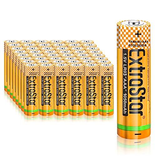 Extrastar Pilas Alcalinas AAA Baterías LR03 para Linternas, Relojes, Mandos a Distancia, Juguetes-48 Unidades de 1.5V