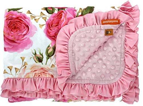 Dear Baby Gear Deluxe Baby Blankets, Custom Minky Print Roses are Pink, Pink Minky Dot